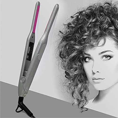 Rizador de pelo de 7 mm, rizador de pelo fino con pinza para pelo largo y corto, turmalina cerámica con indicador de temperatura ajustable, apagado automático con doble voltaje