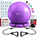 INTENT SPORTS Ball with Base, Exercise Balance Ball (Purple)