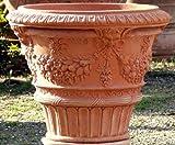 Impruneta Terracotta, Vaso ornato maschere, Vase mit Masken verziert, Blumentopf, Topf