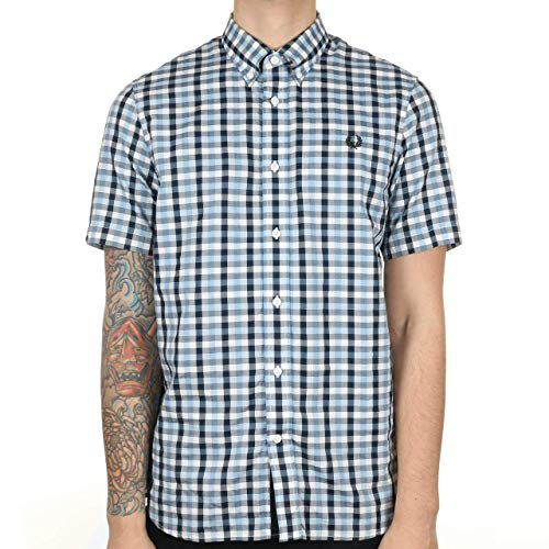 Fred Perry Authentics Herringbone Short Sleeved Checked Shirt GLACIER SMALL