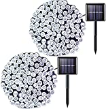 JMEXSUSS 2 Pack Solar Christmas Lights 200LED 75.5ft 8 Modes White Solar String Lights Waterproof for Gardens, Wedding, Party, Christmas Tree, Halloween, Xmas, Outdoors