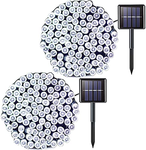 JMEXSUSS 2 Pack Solar String Lights 200LED 75.5ft 8 Modes Solar Christmas Lights Waterproof for Gardens, Wedding, Party, Christmas Tree, Curtains, Outdoors (200LED-White-2Pack)