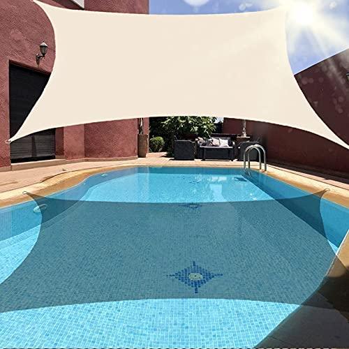 Toldo de vela rectangular 95% de bloqueo UV toldo de vela de protección solar resistente toldo de bloque UV Toldo de bloque UV con kit de herrajes para cochera de patio al aire libre bei