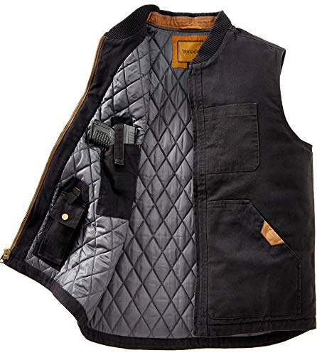 Venado Concealed Carry Vest for Men - Heavy Duty Canvas - Conceal Carry Pockets… (Small) Black