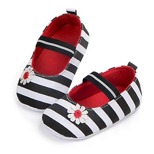 Babyschuhe, Neugeborenes Baby Jungen Mädchen Streifen Blume Schuhe Krippe Prewalker Weiche Sohle Rutschfeste Segeltuchschuhe Sandalen, 3M-12M