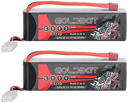 GOLDBAT RC Batterie 3000 mAh 11.1 V 3S 30C LiPo Akku Pack mit Dean T Stecker für RC Auto Boot LKW Quadcopte Flugzeug Modellbau RC Hobby Zubehörteil (2 Packs)