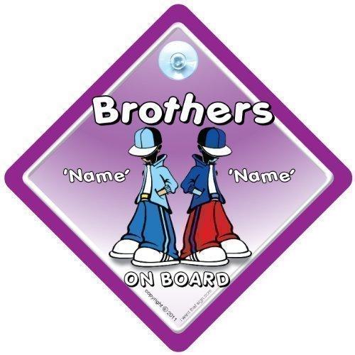 Frères ON BOARD autocollant voiture, BABY - Affiche pour automobile, personnalisé Panneau de signe Bébéà bord, àà bord Style, voiture