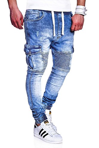 MT Styles Biker Jogg-Jeans Hose RJ-2271 [Hellblau, W34]