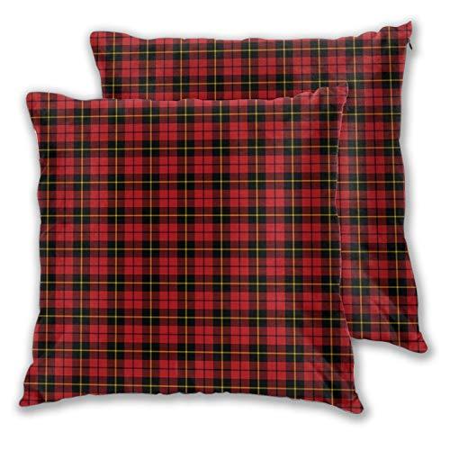 Juego de 2 fundas de almohada Wallace Clan Tartan Decorativas Fundas de Almohada Dos Lados Impreso Funda de Cojín para Sofá, Cama, Sala de estar 45,7 x 45,7 cm