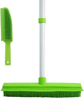 GLOYY Long Handled Push Broom with Soft Rubber Bristles Squeegee Edge 60 inches Use for Pet Cat Dog Hair Perfect for Cleaning Hardwood Vinyl Carpet