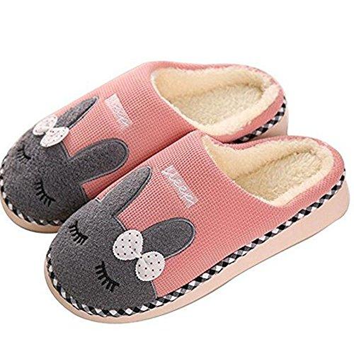 SAGUARO Winter Baumwolle Pantoffeln Plüsch Wärme Weiche Hausschuhe Kuschelige Home rutschfeste Slippers mit Cartoon für Herren Damen, 35/36 EU=36/37 CN Pink