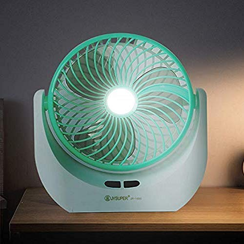 Time Flies Powerful Rechargeable High Speed Table Fan with LED Light for Home Office Desk Kitchen (White and Red Liner)