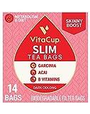 VitaCup Slim Tea Bags for Skinny Diet, Metabolism, & Detox, Oolong Tea with Acai Berry, Garcinia, B Vitamins in a Single Serve Tea Sachet Bag, 14 CT