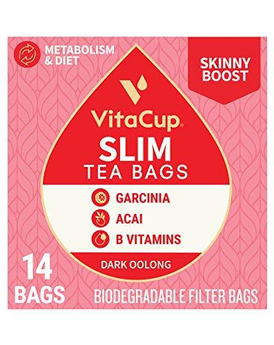 Slim Tea Bags by VitaCup for Skinny Diet, Metabolism, & Detox, Oolong Tea with Acai Berry, Garcinia, B Vitamins in a Single Serve Tea Sachet Bag, 14 CT