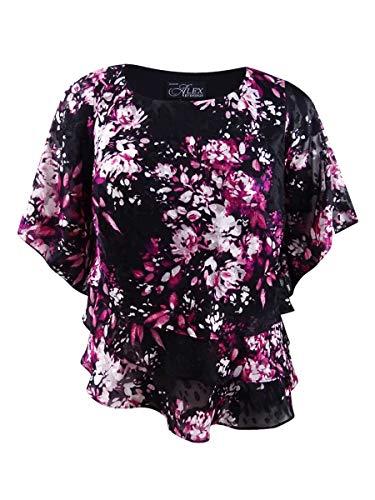 Alex Evenings Women's Plus Size Asymmetric Tiered Chiffon Blouse Shirt, Black/Pink, 1X