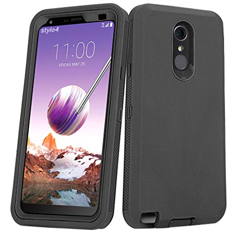 Annymall Case for LG Stylo 4 Plus Case, Hybrid High Impact Resistant Rugged Full-Body Shockproof Tri-Layer Heavy Duty Case with Built-in Screen Protector for LG Stylo 4/ LG Stylo 4 Plus (Black)