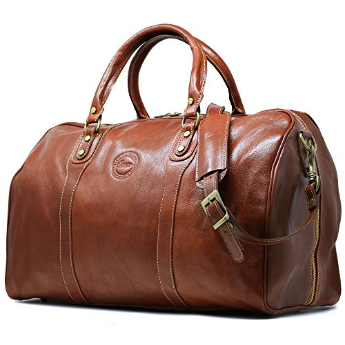 Cenzo Duffle Vecchio Brown Italian Leather Weekender Travel Bag