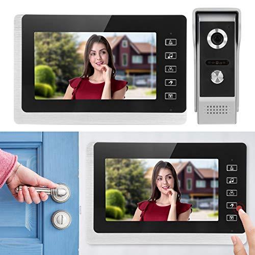 Timbre LCD TFT de 7 pulgadas, videoportero, visión nocturna bidireccional impermeable a prueba de polvo, timbre de seguridad a prueba de lluvia, vigilancia, sistema de seguridad para el(Transl)