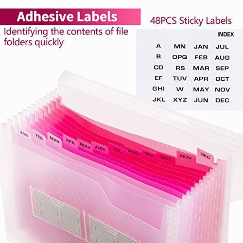 Sooez Expanding File Folder with Sticky Labels, 13 Pockets Accordion File Folder File Organizer Letter A4 Paper Organizer Filing Folder Expandable Document Folder Storage Paperwork Organize, 1 Pack Photo #6
