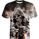 VECDY Herren Bluse,Räumungsverkauf- Herren Mens Skull 3D Druck T-Shirt Kurzarm Bluse Tops Lässige Strickjacke Coole Neue Spitze(Schwarz,46
