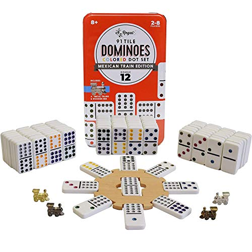 Regal Games Double 12 Colored Dot Dominoes Mexican Train Game