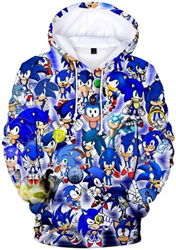 Silver Basic Sonic The Hedgehog Sudadera con Capucha para Hombre Sudadera Deportiva con Estampado 3D Sonic Sudadera con Capucha Cosplay Ropa S,2589Sonic Azul F-1