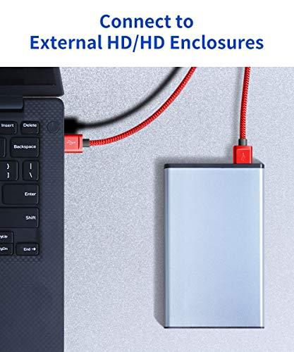 JSAUX USB 3.0 Kabel, [2 Stück 1M+2M] USB A Stecker auf A Stecker Nylon Verbindungskabel, 5Gbps Super Speed, vergoldeter Anschluss für HDD, DVD, Drucker, Kameras, Festplattengehäusen, Laptop usw (Rot)