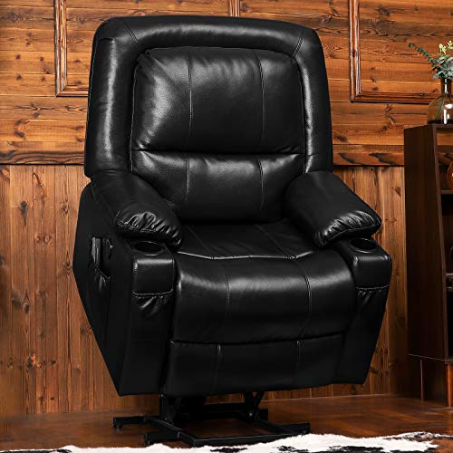 B BAIJIAWEI Power Lift Recliner Chair - Breath Leather Electric Recliner for Elderly - Heavy Duty Reclining Chair with Side Pockets, USB Charge Port & Massage Remote Control (Black)
