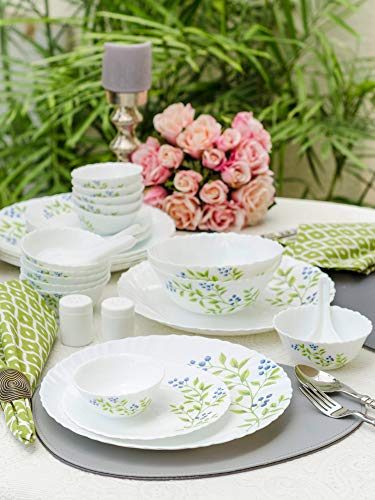 LaOpala Lush Greens Opalware Dinner Set (White) -Set of 35 Pieces
