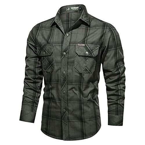 Herren Freizeithemd Herbst Baumwolle Plaid Langarmhemd Tooling Large Size Shirt