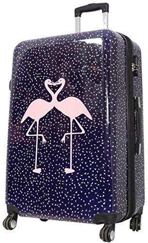 Bowatex Reisekoffer Trolley Flamingo Koffer Polycarbonat Vogel Bunt 77 cm XL