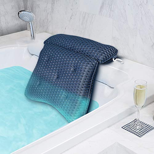 tomight Badewannenkissen,Luxus Badewanne & Spa-Kissen mit 4D-Air-Mesh-Technologie und 7 Saugnäpfen,Saugnäpfen Weicher und Atmungsaktiver Badewanne Nackenpolste für Home Spa Whirlpools Grau