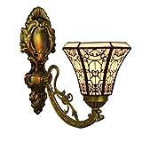 LHQ-HQ British Stained Glass Espejo Moderno Luces de Noche la lámpara de Pared del Pasillo Flor de Sun de una Sola Cabeza de Cristal lámpara de Pared de la decoración de la Pared de luz de la lámpara