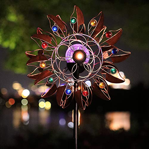 HDNICEZM Solar Wind Spinner Multi-Color LED Lighting by Solar Powered Glass Ball with Kinetic Wind Aculptures Dual Direction Decorative Lawn Ornament Wind Mill