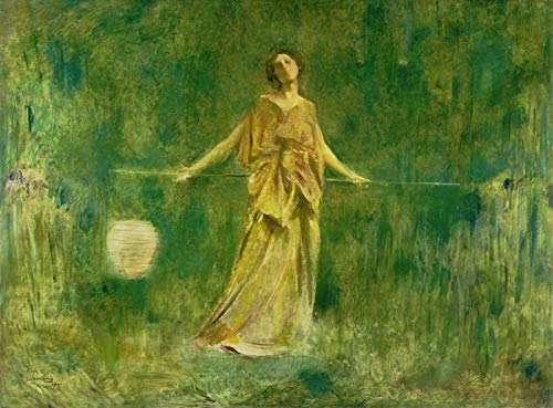"""Thomas Wilmer Dewing Symphony in Green and Gold 1900 Akron Art Museum 30"""" x 22"""" Fine Art Giclee Canvas Print (Unframed) Reproduction"""