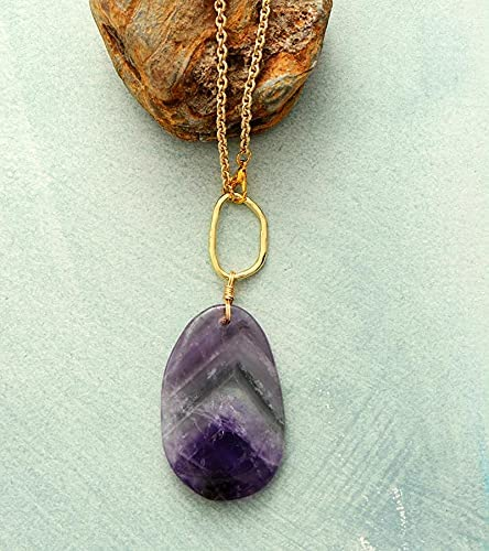 HaiFiy Limited time cheap sale Natural Stone Necklace Earring Regular dealer Amethysts Gold Set Jewelry