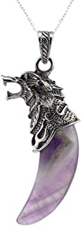 Unisex Men's Silver Plated Alloy Amethyst Agate Gemstone Natural Crystal Wolf Tooth Pendant Necklace,24''