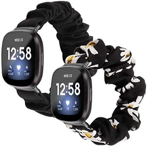 2 bandas elásticas para reloj Fitbit Sense/Versa 3, para mujeres y niñas, patrón de tela suave estampado de tela de repuesto para Fitbit Versa 3 accesorios (negro, pequeño)