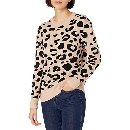 Amazon Brand – Daily Ritual Women's Ultra-Soft Leopard Jacquard Crewneck Pullover Sweater