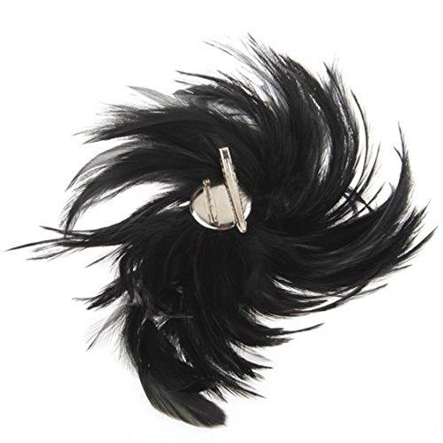 Dasing Zwarte Veer Cocktail Corsage Broche Pin Haar Clip Nieuwe HOT