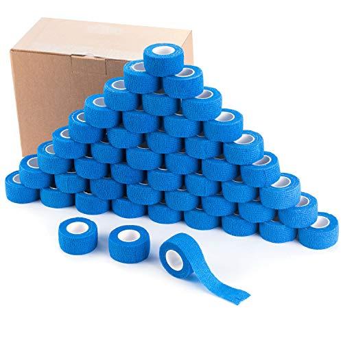 COJJ 48 STK Haftbandage Cohesive Bandage Selbsthaftende Verband Fingerpflaster Wundverband Fixierverband Tierverband Hand Reißen Wasserfest Elastische Binde Für Menschen Haustiere 2,5cm X 4,5m (Blau)