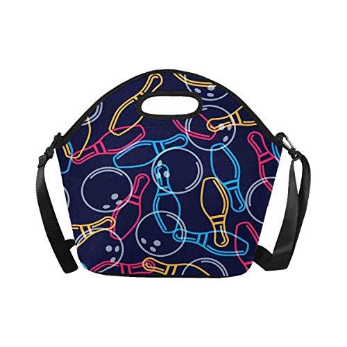 Cute Bi Neopren Lunchpaket Bowlingkugel Muster Mehrweg Lunchpaket mit Schultergurt