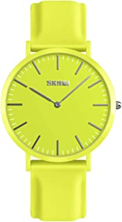TONSHEN Simple Design Fashion Casual Analog Quartz Watch for Men and Women Multiple Colours Plastic Case with Rubber Band Dress Watches (Women Yellow)