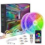 Tira LED, Kintty 10M Dreamcolor Tira LED RGB con Control APP, Impermeable IP68,Lámpara IC LED 5050 Incorporada con Efecto Persiguiendo Multi-luz, Adecuado para Navidad, Fiesta, Interior