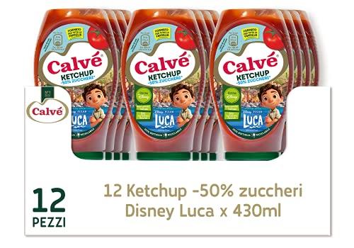 Calvé Ketchup -50% Zuccheri Disney Luca in Confezione Top Down, Maxiformato, 12 Pezzi da 430 ml