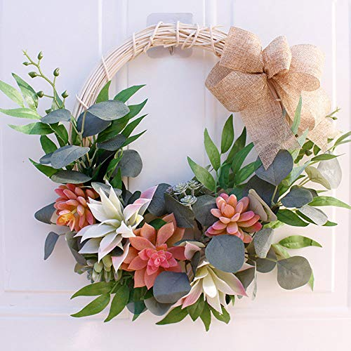 SUREH 16inch Outdoor Summer Succulent Wreaths for Front Door with Knotted Bow Artificial Greenery Wreath Spring Farmhouse Garland Handmade Green Leaves Wreath for Party Home Decor