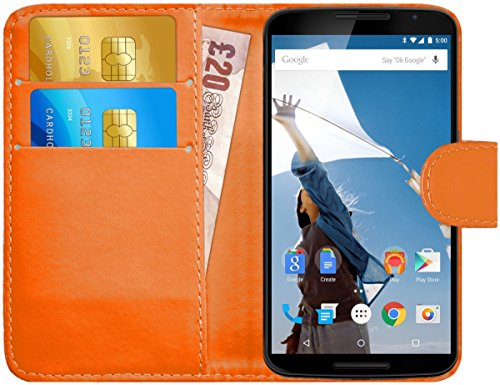 G-Shield Hülle für Google Nexus 6 Klapphülle mit Kartenfach - Orange