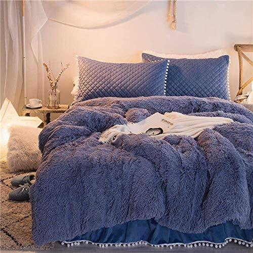 Decoración para el hogar Funda nórdica peluda Juego de 4 piezas de falda de cama gruesa y cálida de vellón de visón para otoño e invierno Suave paño grueso y suave de cristal Estilo princesa R