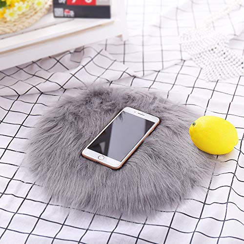 Soft Artificial Sheepskin Rug Chair Cover Artificial Wool Warm Hairy Carpet Gray, 30cm Small Faux Wool Bay Window Mat Round Floor Mat Carpet Grey