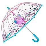 PERLETTI Parapluie Licorne Transparent Enfant - Long Parapluie Cloche Résistant et Coupe Vent - Grand avec Ouverture de Sécurité Manuelle - Haute Qualité - Fille 3/6 Ans - Diam 64 cm Cool Kids